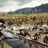 Falcon (Anthony Mackie) flies into action over a Wakanda battlefield. Those crocodile/alien-like creatures are pretty terrifying, no?