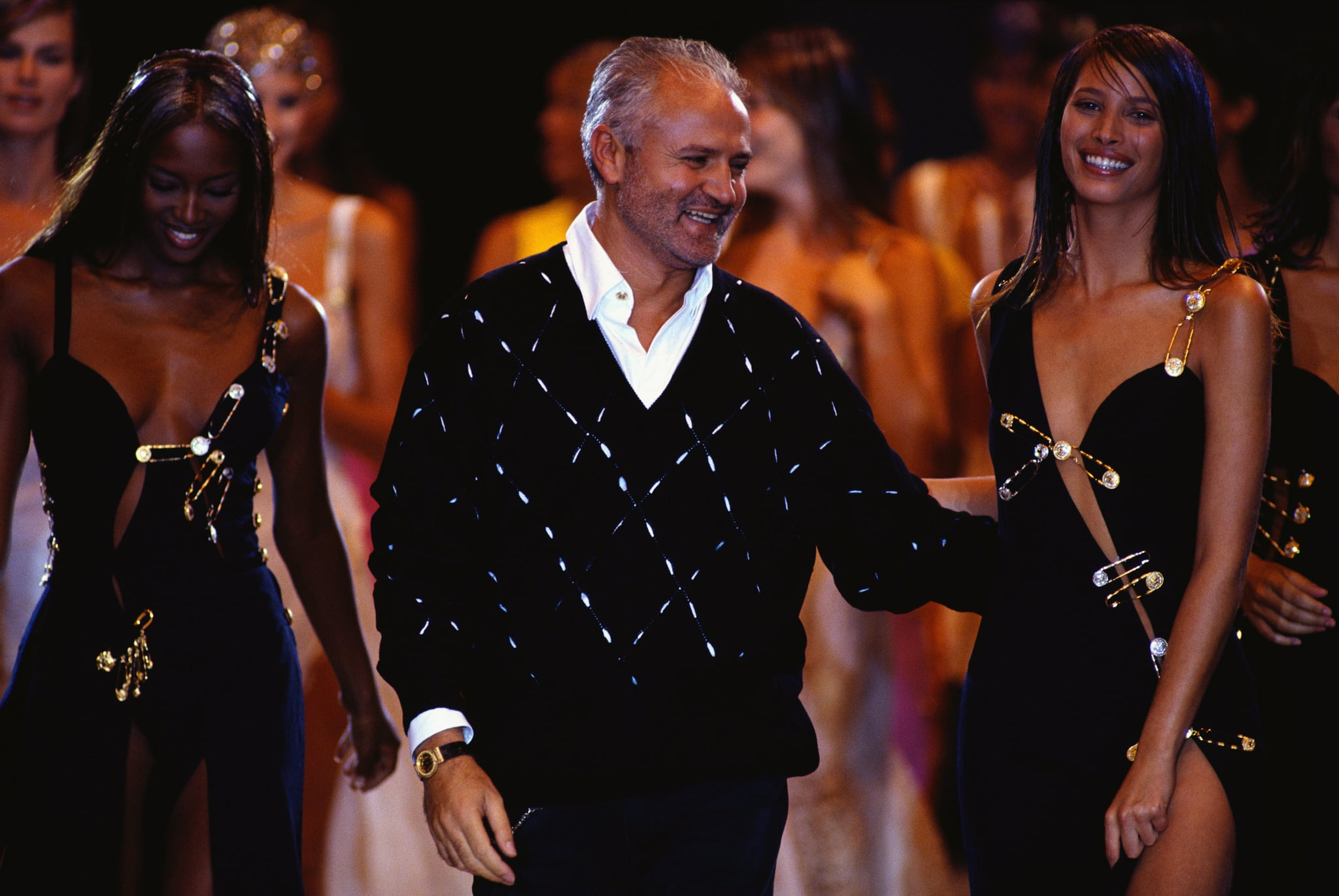 Naomi Campbell, Gianni Versace, and Christy Turlington (Photo by �� Michel Arnaud/CORBIS/Corbis via Getty Images)