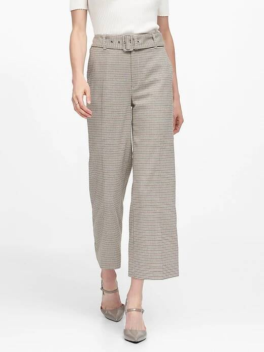 Slim Wide-Leg Houndstooth Cropped Pant