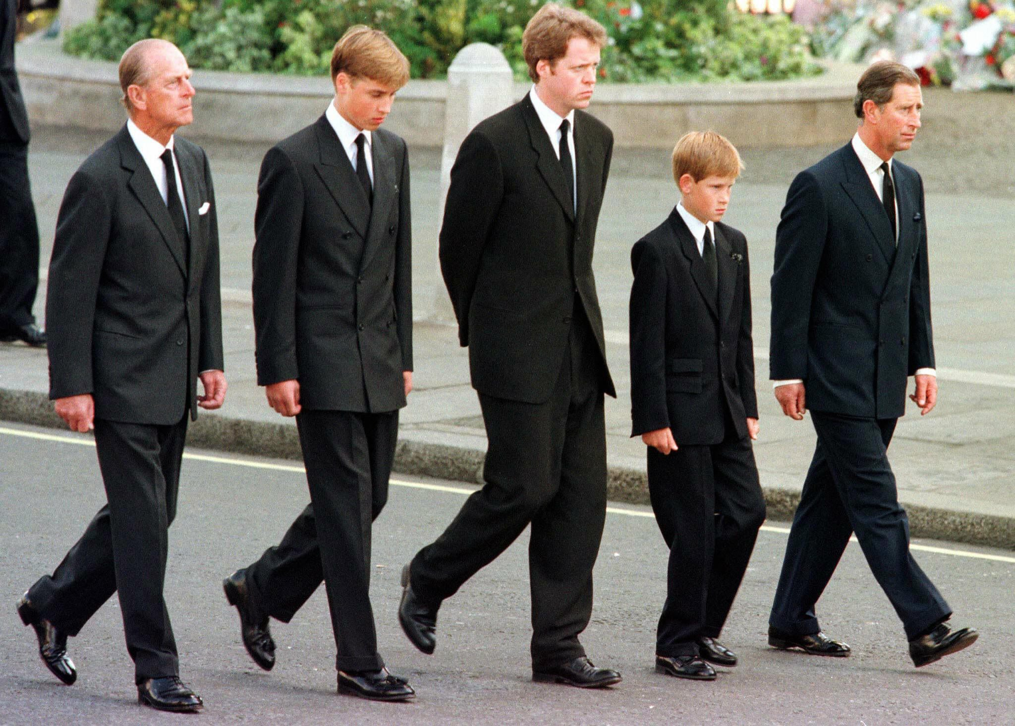 William and Harry at Princess Diana's Funeral | POPSUGAR Celebrity ...