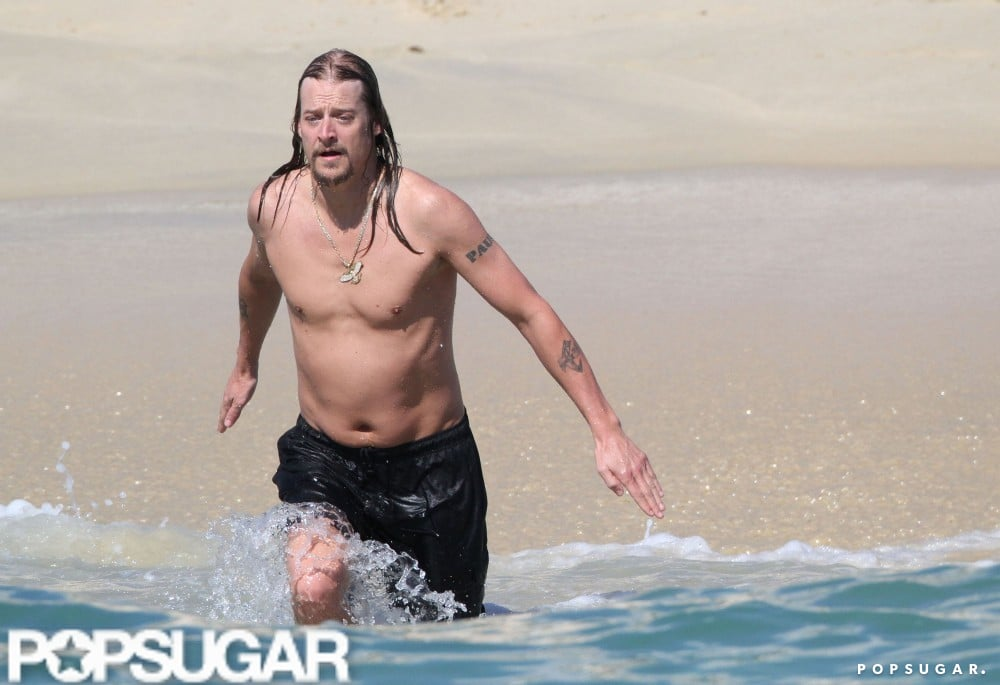 Kid Rock cooled down with a shirtless dip off the coast of Cabo in December 2010.