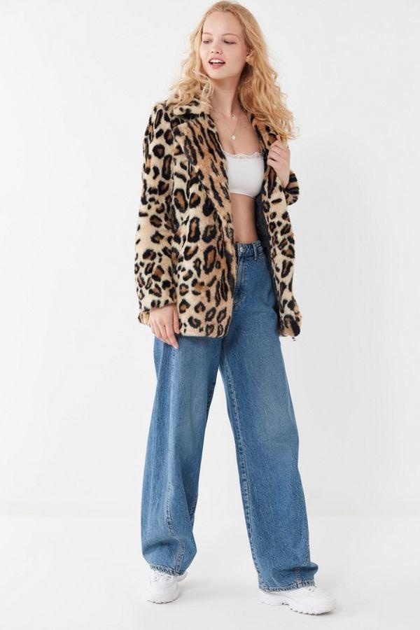 Apparis Violette Leopard Print Faux Fur Coat