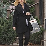 Claire Danes walked down the street in Toronto after shopping at Roots.
