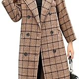 Tanming Double-Breasted Plaid Wool-Blend Coat