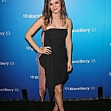 Rachel Bilson donned a black bustier Christian Dior dress with a pink-and-orange organza detailing at the BlackBerry Z10 launch party in Los Angeles.