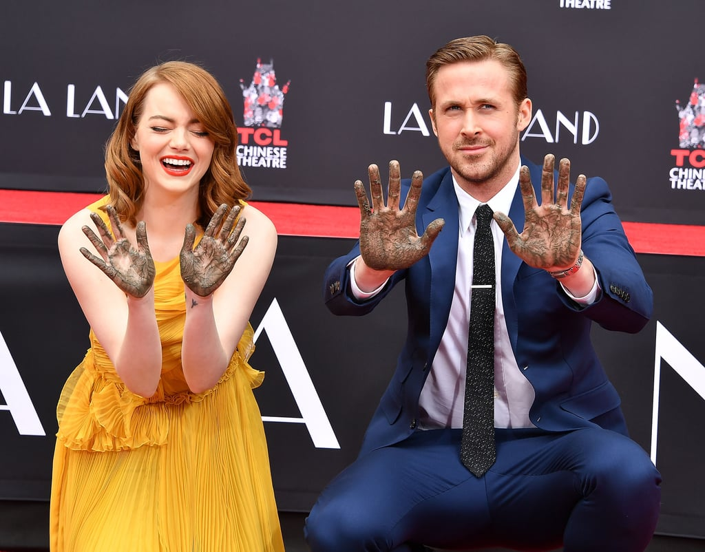 "After kicking off their press tour for La La Land at the LA premiere of the film on Tuesday, Ryan Gosling and Emma Stone stepped out together for the movie's hand and footprint ceremony in Hollywood on Wednesday afternoon. Emma wore a gorgeous yellow dress for the special occasion while Ryan looked dapper in a blue suit. During the ceremony, Ryan joked about getting arrested for vandalism, saying, ""I'm still, I guess, not completely convinced that we're not going to be arrested for vandalism. I'm going to take your word for it that we're allowed to do this."" He then continued, ""We had an opportunity to shoot in most of Los Angeles's iconic locations except for this one, so I guess this is the final piece of the puzzle. It's a beautiful way to end this experience.""   Emma also admitted that she cried when she found out that her hand and footprints would remain outside of the TCL Chinese Theatre, adding, ""This is embarrassing. I thought this was maybe the kind of a thing where you come and put your hand prints in cement and then they take them away and put them up somewhere. I was told they're going to stay here, so I cried a little bit inside."""