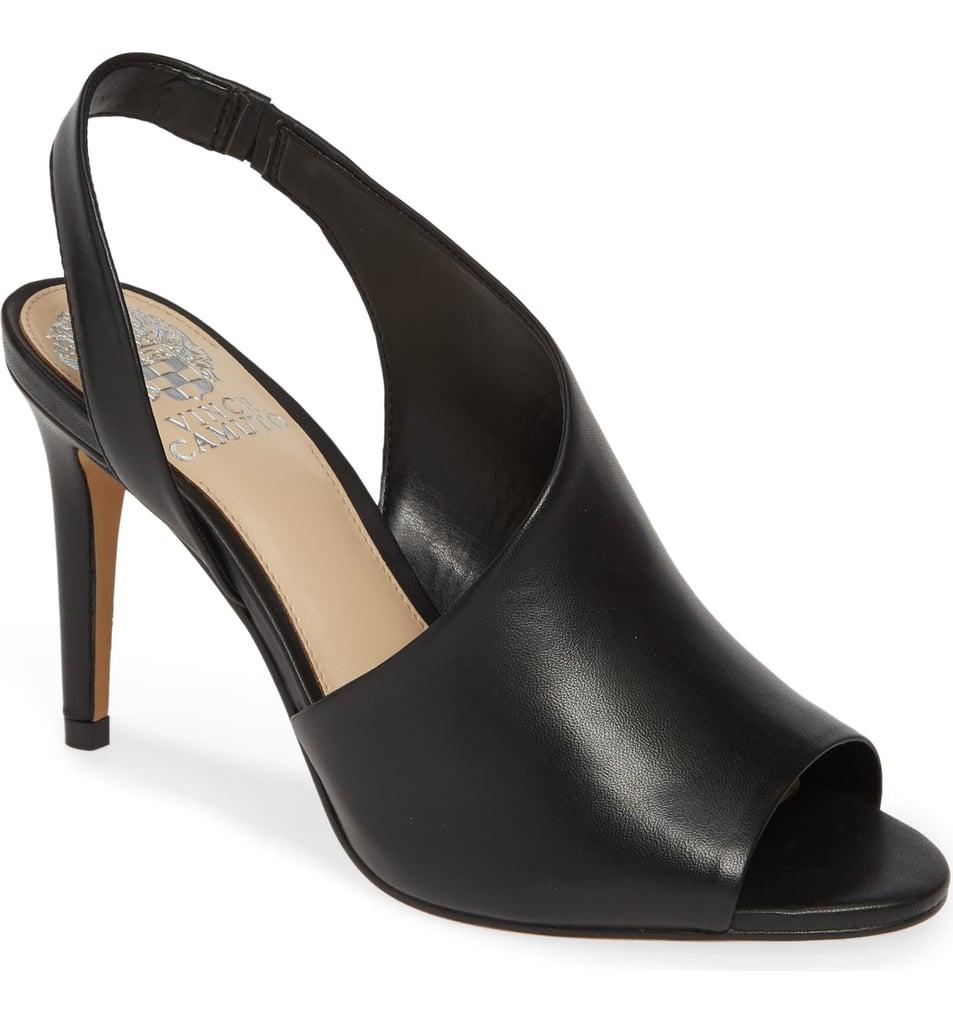 Crasantha Heeled Sandal in Black Leather