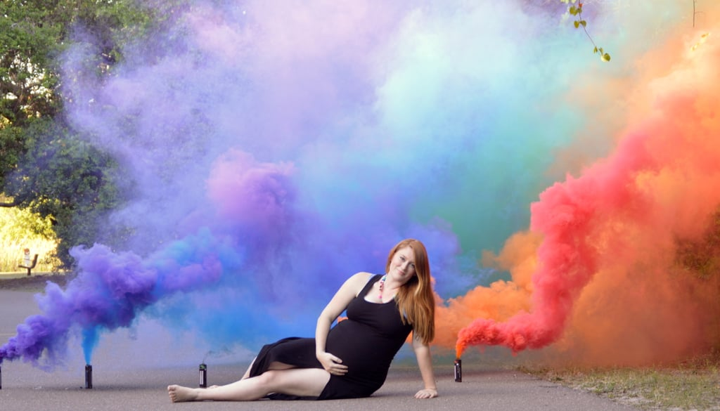 ba695633e6 Smoke Grenade Rainbow Baby Maternity Photos