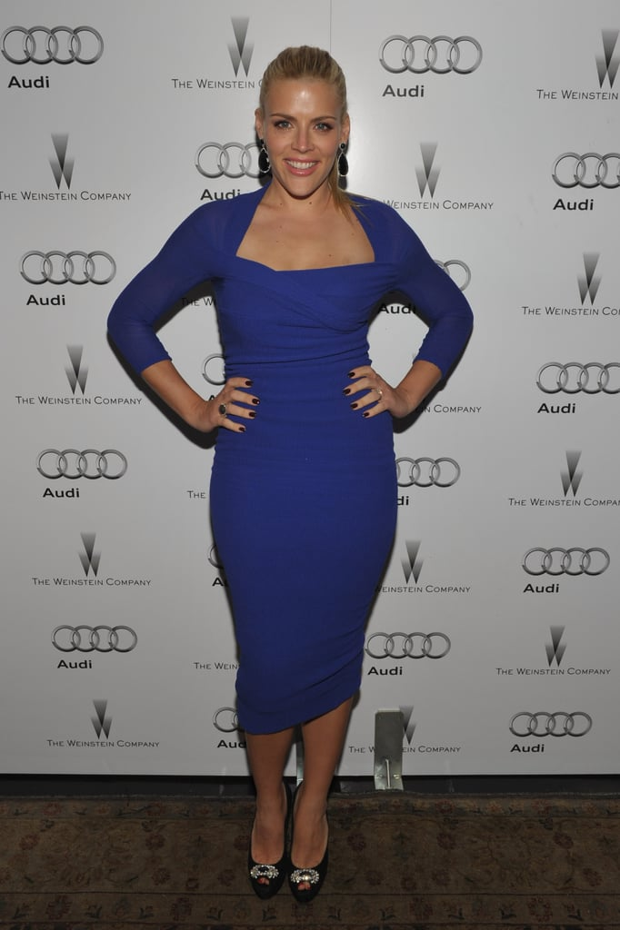 Busy Philipps rocked a blue Carven dress on the red carpet at the Chateau Marmont.