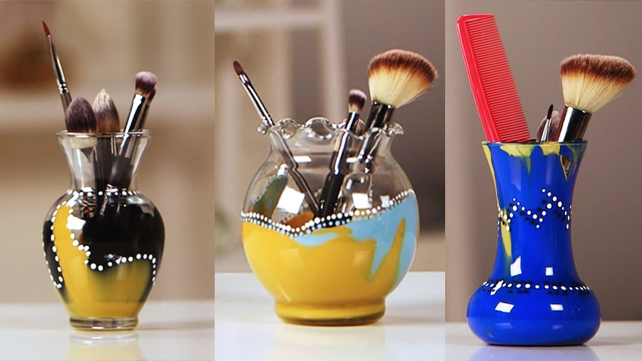 Two Steps to a Gorgeous Painted Makeup Brush Holder