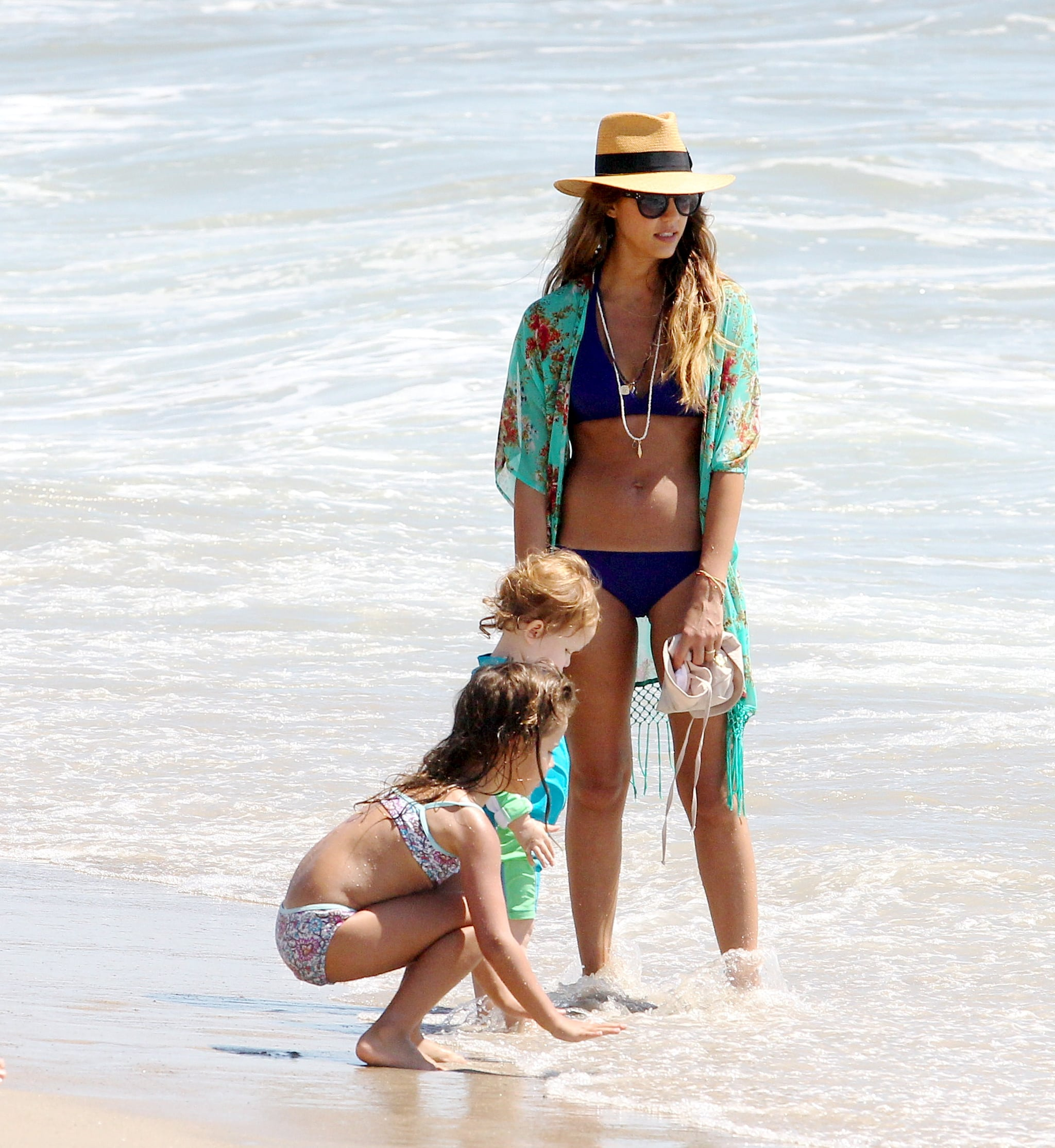 Jessica Alba got her feet wet with her daughters, Haven and Honor.