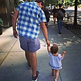 """Jenna Bush Hager showed off her new little walker, Mia, in this Father's Day shot, saying, """"Happy Father's Day to the most fun and loving papa on the block. Love you."""" Source: Instagram user jennabhager"""