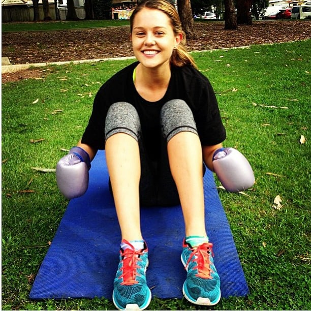 Isabelle Cornish looked cute during a workout session. Source: Instagram user isabellecornishh