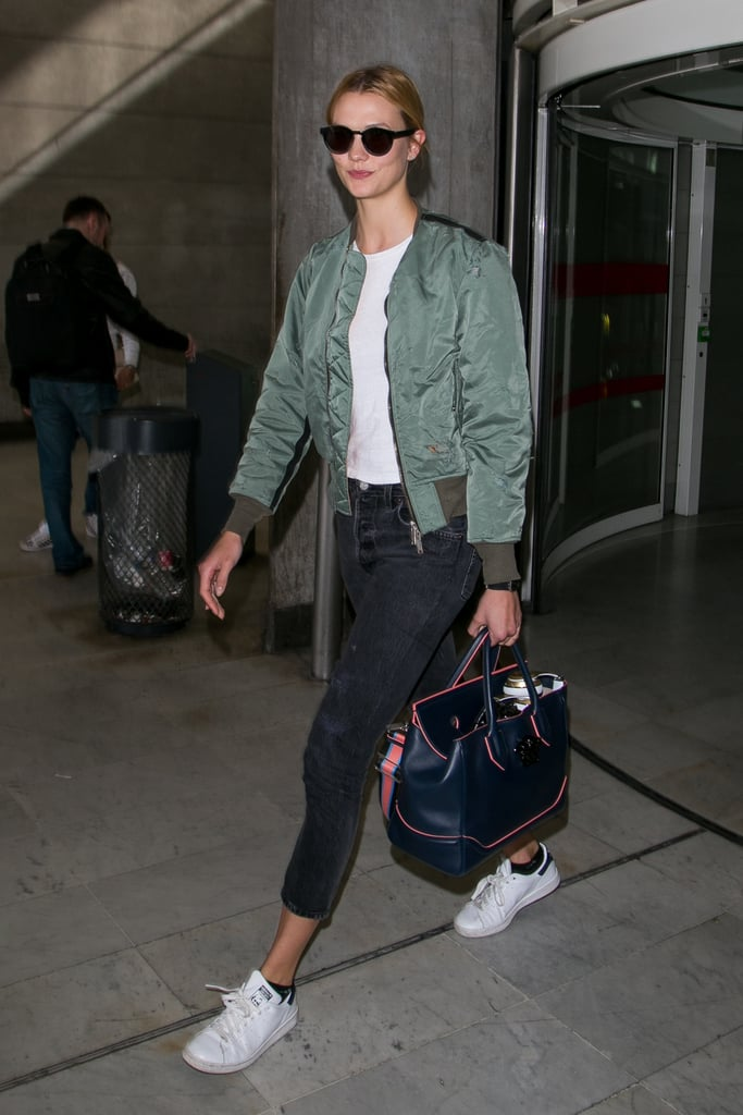Karlie Kloss Carrying a Versace Palazzo Empire Bag