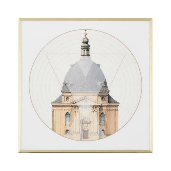 Jennifer Taylor Home 24 in. L x 24 in. W Gold Frame Geometric Architecture 'No.