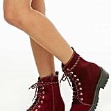 Forever 21 Velvet Combat Boots