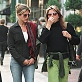 Jen stepped out in Soho in 2001 wearing a square pair with a slightly purple tint.