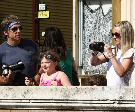 Slide Picture of Ben Stiller and Christine Taylor With Kids in Rome