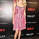 Nanette Lepore walked the Red 2 carpet in a lacy pink design.