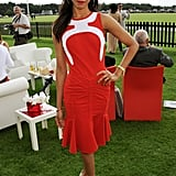 Zoe Saldana was perfectly polished in a pretty red sheath at the Guards Polo Cup.