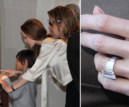 Angelina Jolie's custom-designed Robert Procop engagement ring was a gift from Brad Pitt in April. The enormous middle diamond is set in a diamond-covered art deco band, with Brad helping Robert achieve the final design.
