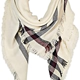 Under Zero Plaid Beige Blanket Scarf Wrap