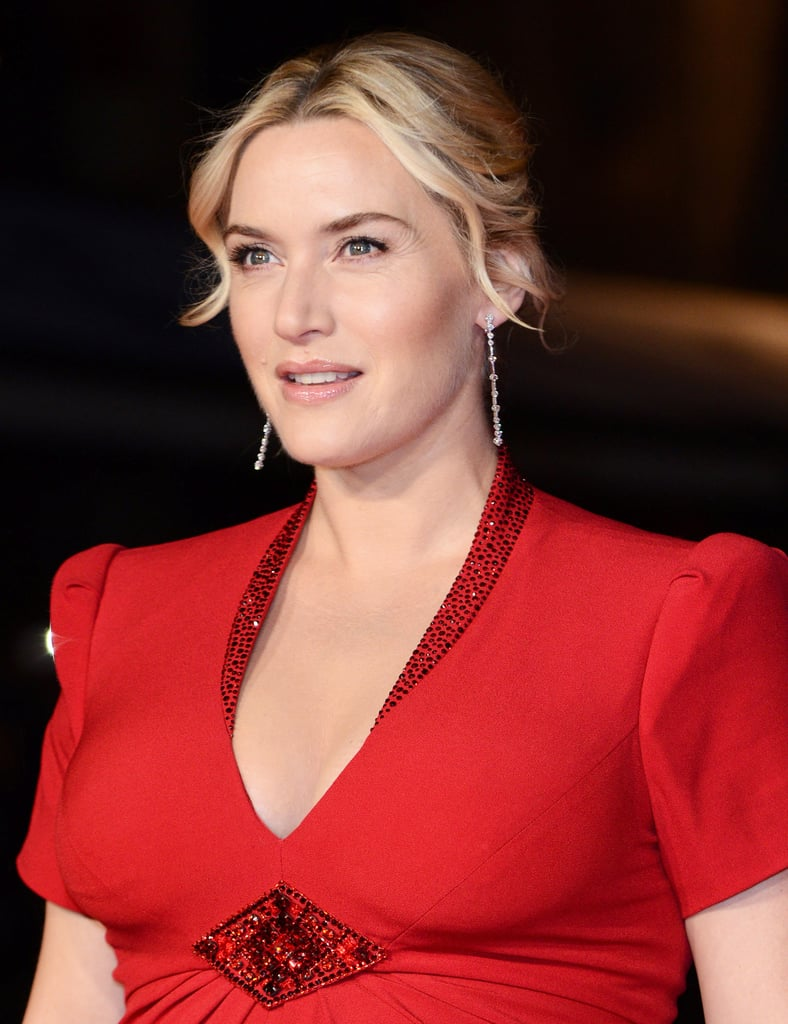 A very pregnant Kate Winslet showed off her pregnancy glow at the Labor Day premiere with her blond hair pulled back into a soft updo.