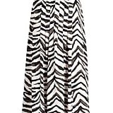 Zebra Pleated Midi Skirt