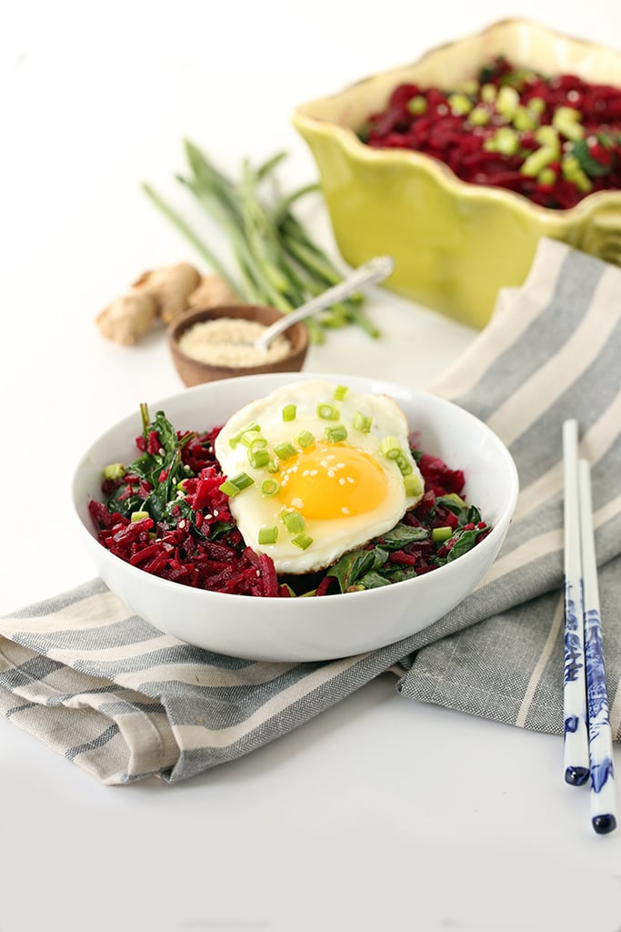 Crunchy Miso Beet Rice With Spinach and Fried Egg