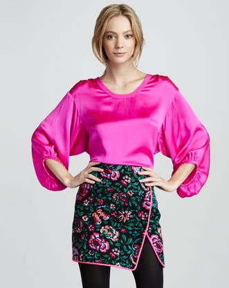We adore the pop of print on this Nanette Lepore Blossom-Print Wrap Skirt ($348) — so pretty it transports us to a tranquil Oriental garden.