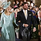 Prince Guillaume of Luxembourg, the heir to the throne, walked down the aisle with his wife, Princess Stephanie.