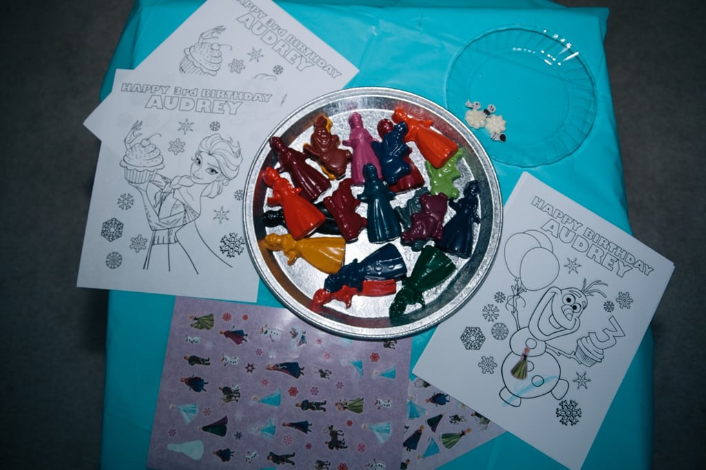 What's a children's party without coloring? Anna laid out Frozen designs and themed crayons in case her daughter's friends wanted to get artistic during the celebration.