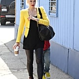 Gwen Stefani wore a yellow blazer from Zara while taking her sons to an ice-skating rink in LA.