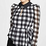 Self-Portrait Monochrome Gingham Printed Top
