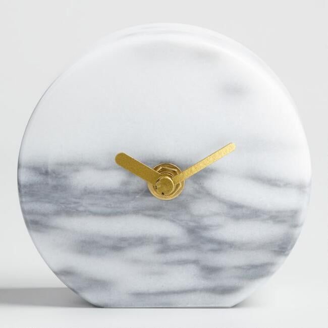 Gray Marble Tabletop Clock