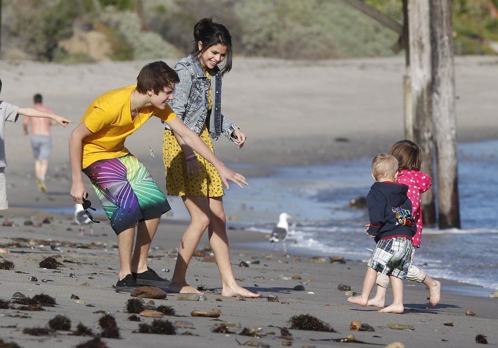 Selena Gomez and Justin Bieber took Justin's siblings to the beach in Malibu in February.