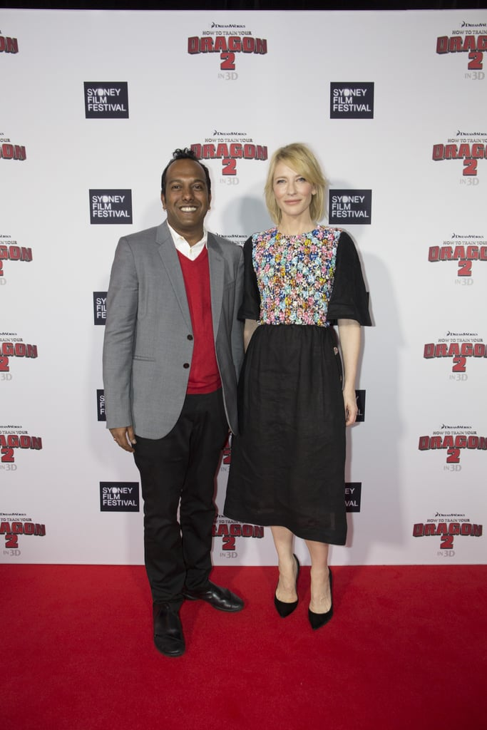 Cate Blanchett (with Sydney Film Festival director Nashen Moodley) attended the Australian premiere of How to Train Your Dragon 2 with her sons. She voices a character in the sequel.
