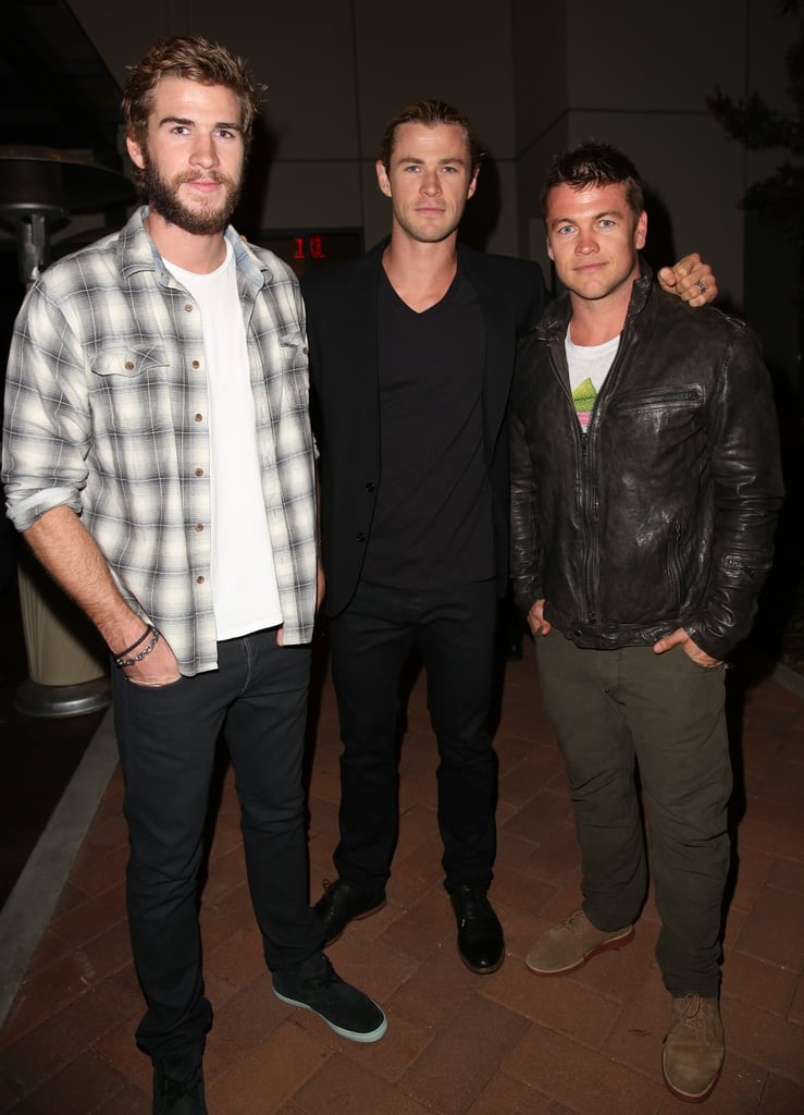 Liam, Chris, and Luke posed for a picture together at an LA event in April 2013.