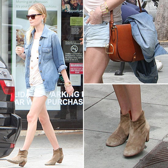 Kate Bosworth Mulberry Shirt and Cutoffs April 25, 2012