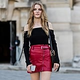 Leather skirts get even edgier with a lace-up top like this one.