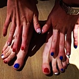 US swimmer and gold medalist Missy Franklin shared her patriotic nail art.  Source: Twitter user FranklinMissy