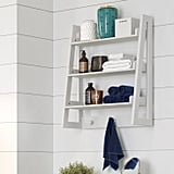 Wall-Mounted Ladder Shelf With Towel Hooks