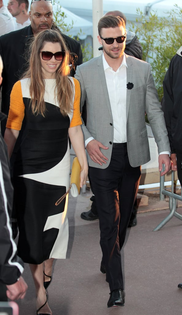 Jessica Biel donned a striking colourblocked dress and a matching yellow clutch while walking alongside Justin Timberlake in Cannes.
