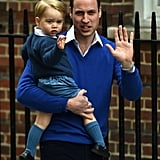 Prince William with George prior to introducing newborn Princess Charlotte to the world.