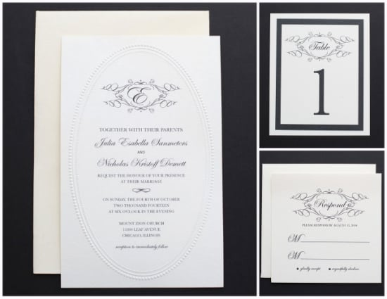 Elegant Black and White Monogram Wedding Invitation