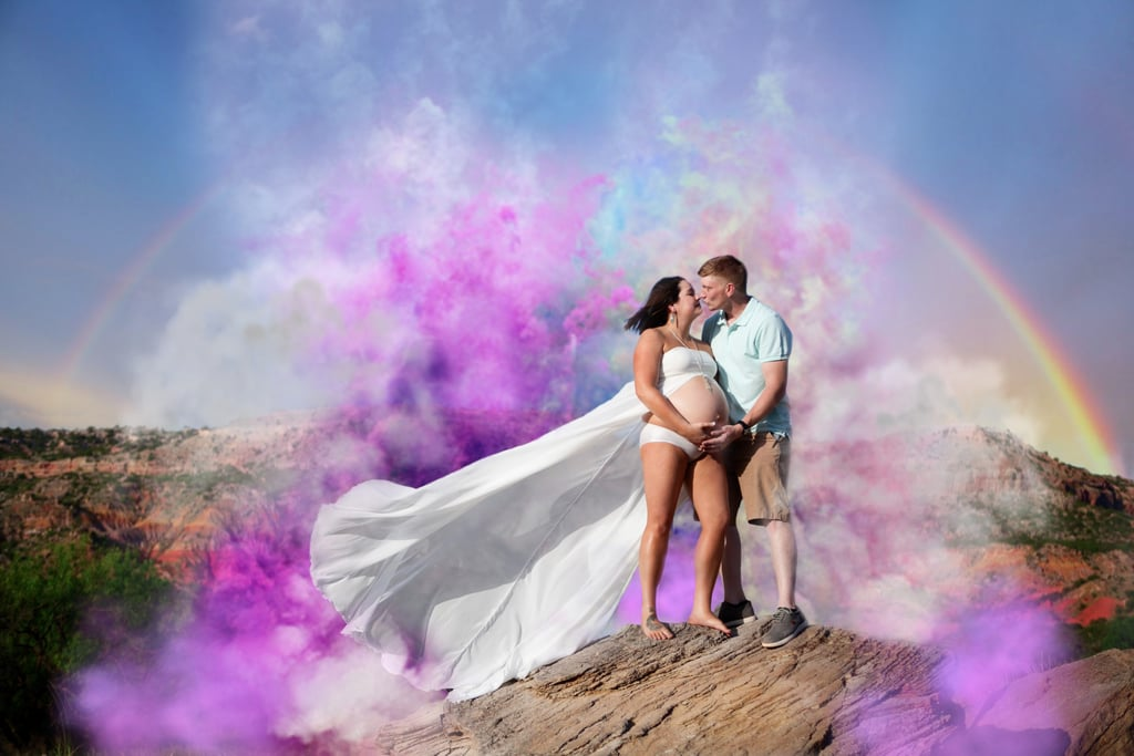 Surprise rainbow baby maternity shoot