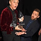 True to form, the BFFs joked around after Justin presented Ellen with an award in 2017.