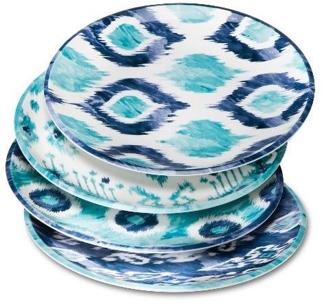 Mudhut MudhutTM Blue Ikat Melamine Salad Plates - Set of 4 ($12.99)