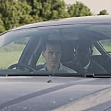 Andrew Scott (Sherlock) can be seen waving a gun and ranting about people being addicted to their phones in the trailer, whereas this photo shows the character in a more relaxed moment in the car. (Though, to be fair, that's his hostage in the back seat.)