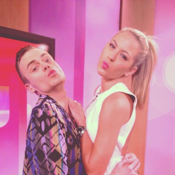 Josh Flinn and Jesinta Campbell puckered up on the Mornings set. Source: Instagram user jesintac